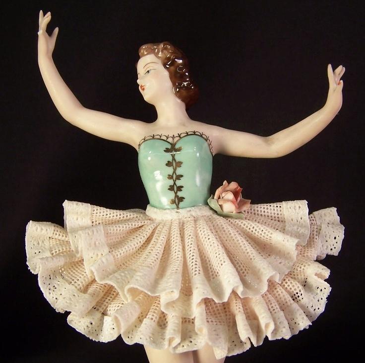 Porcelain Dresden Woman in Green & White Ballet Dress