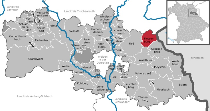 Map of local area I was at in Munich: Weiden, Floss, and Flossenburg