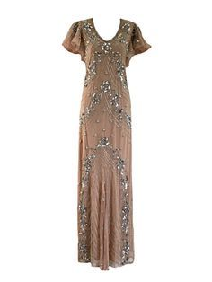 Lucy Embellished Dress, 1920s Great Gatsby Style, Silver Sequin Floral Dress, Nude Wedding Reception Dress, 20s Evening Ball Gown, M-XXL