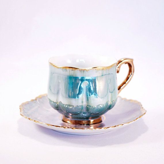 Antique turquoise gilded lusterware Cup & saucer mother of