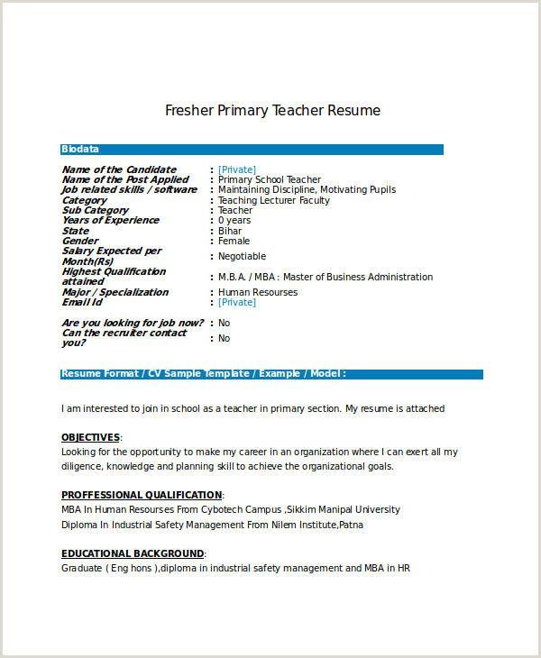 Resume Format For Job In India Pdf Myoscommercetemplates Com Jobs For Teachers Teacher Resume Primary School Teacher