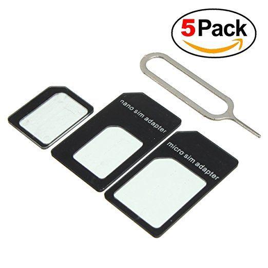 5 pack sim card adapter nano to micro  nano to regular
