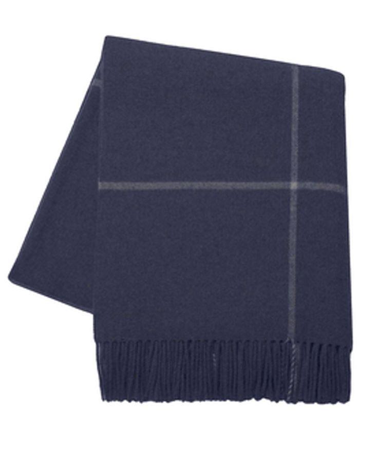 Italian Cashmere Throw Blanket, Navy Windowpane