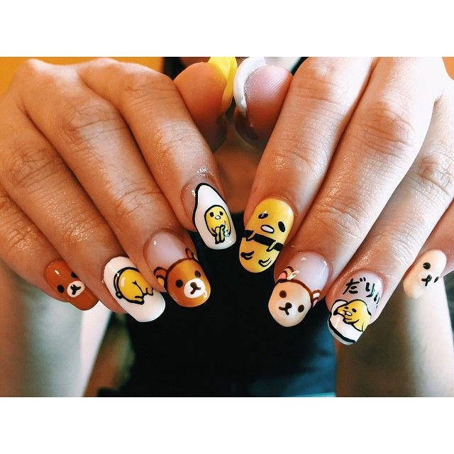 """GUDETAMA X RILAKKUMA"" In case you didn't know about gudetama, he is actually an egg. A very sad little egg. #acrylicnails #boxhill #clarahnails…"""