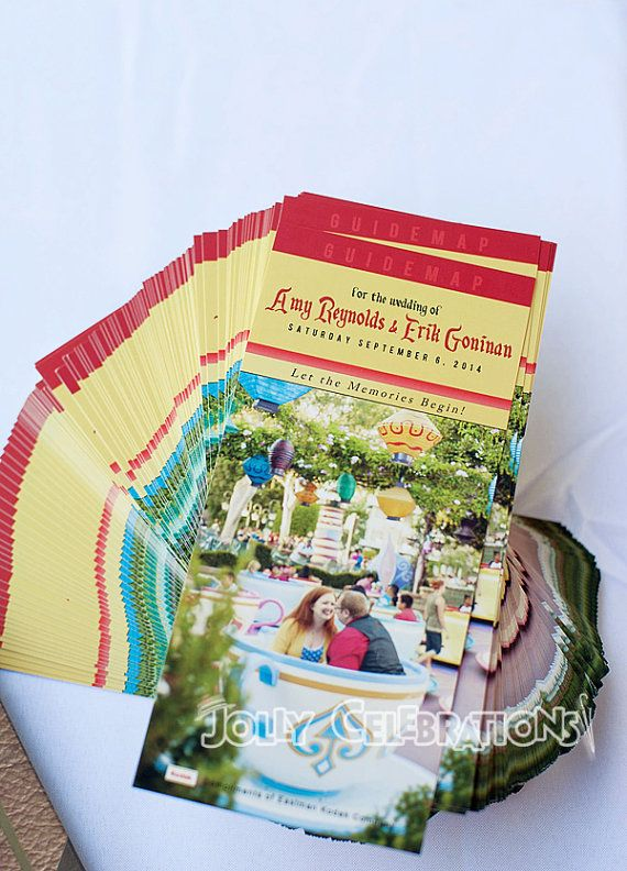 Custom Disney Parks GuideMap Wedding Programs by JollyCelebrations