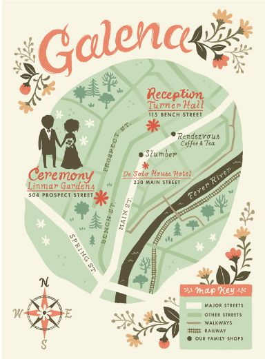 gorgeous bespoke map for a wedding in one place