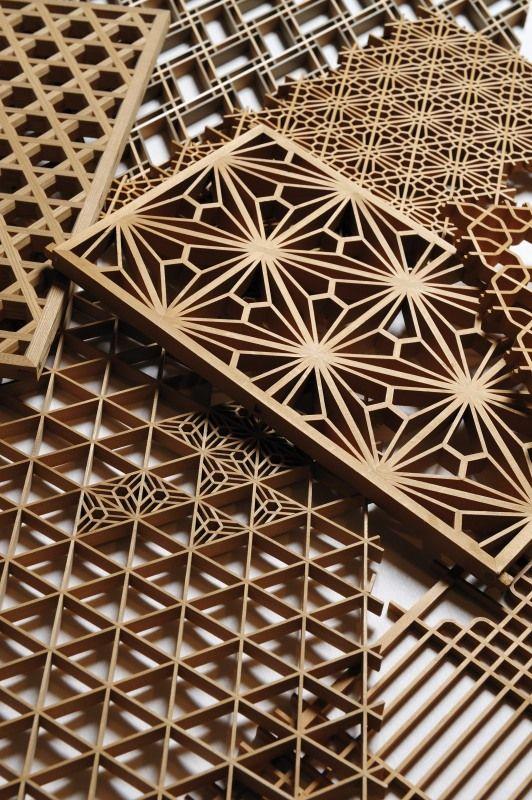 Kumiko (art technique of assembling small wooden pieces without nails) by Shinichi Sugawara from Iwate, Japan. (wasaku.org)