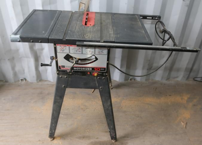"Sears Craftsman 10"" table saw model # 113.295820, single phase, on stand with adjustable feet, 49.5"" x 27"" x 42""T."