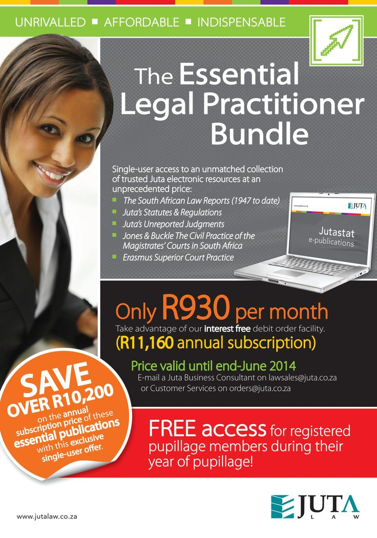 The Essential Legal Practitioner Bundle: single-user access to an unmatched collection of trusted Juta electronic resources. The price is due to increase in July 2014, so order now!     Registered pupillage members get free access to the Essential Legal Practitioner Bundle during their year of pupillage.