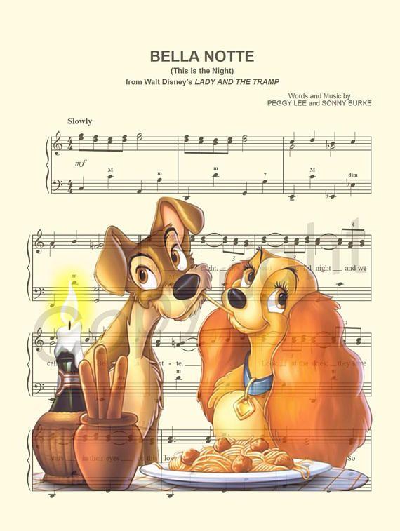 Lady And The Tramp Spaghetti Dinner Belle Notte Sheet Music Art Print Disney Sheet Music Disney Drawings Disney Songs