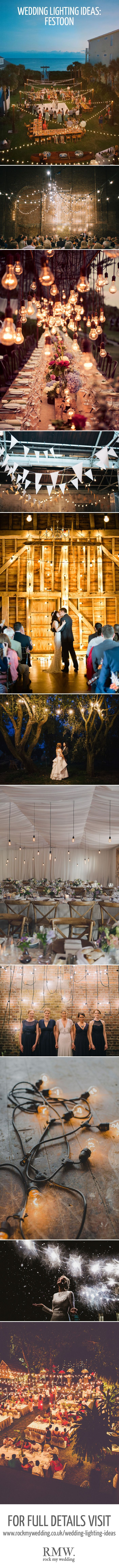 Festoon Lighting For Weddings | http://www.rockmywedding.co.uk/gorgeous-lighting-ideas-wedding-day/