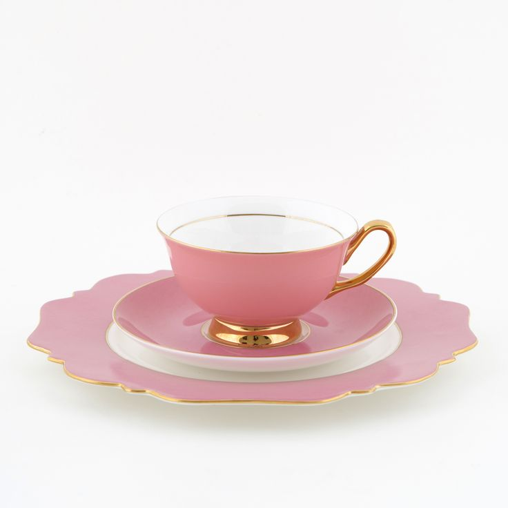 Pink #250mL #Teacup and #Saucer #Set with #Pink #Sideplate | The #elegant, #stylish #teacup. #Mix'n'match with our other #colours! Get #inspired at #lyndalt.com