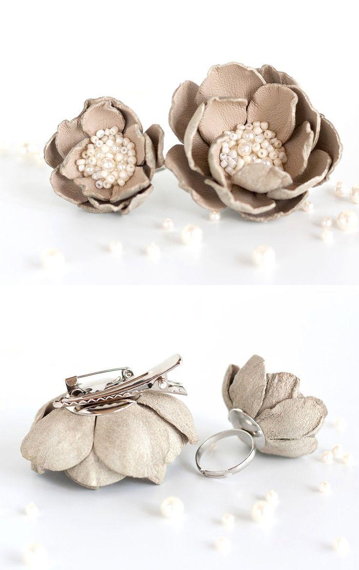 Christmas Sale 15%. Flower hair clip, Beige flower brooch, leather ring, Leather... #beige #brooch #Christmas #clip #Flower #Hair #hairaccessories #leather #Ring #Sale