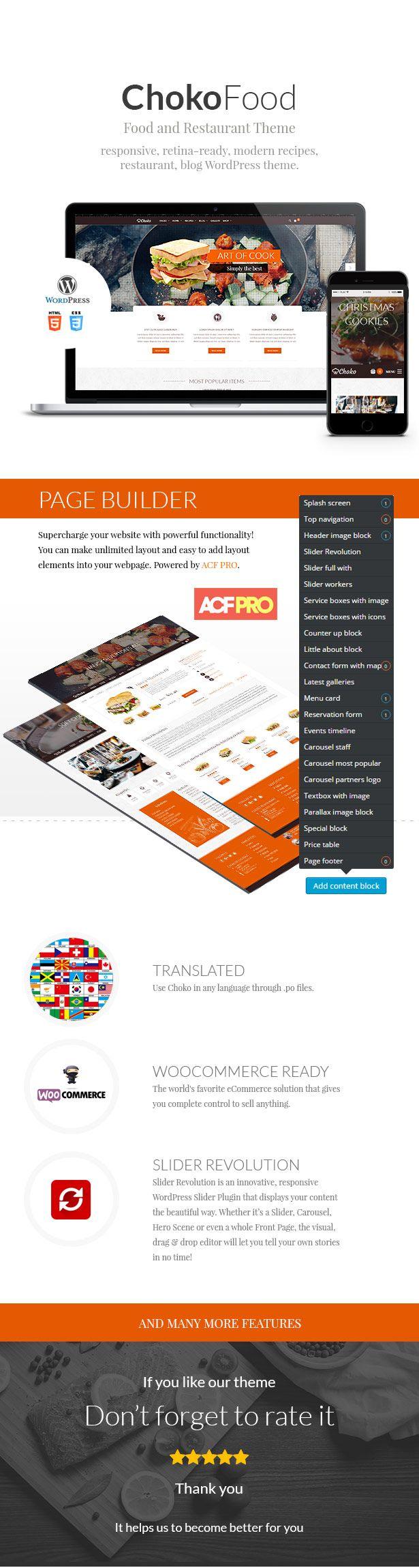 Chokofood – Food & Restaurant Wordpress Theme fresh and modern design for restaurant, chef or food blog. #food #blog #design #theme
