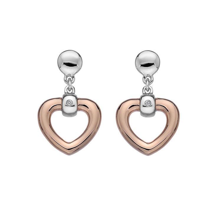 Hot Diamonds Rose Gold Plated Bonded Heart Earrings