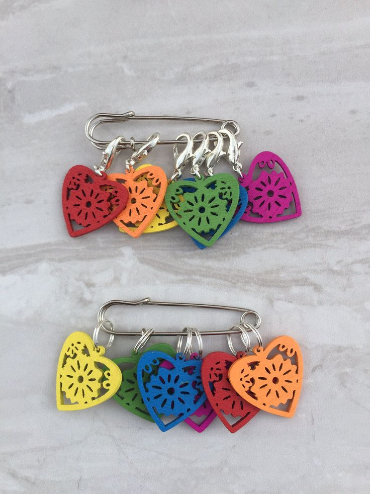 Wooden Heart Stitch Markers, stitch markers, knitting supplies, gift for knitter, snag free, craft supplies, crochet markers by DianaSianCrafts on Etsy