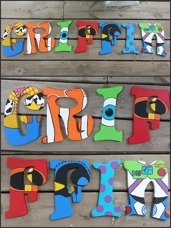 Disney Pixar Letters  Hand Painted Letters  Name by SLGPaints