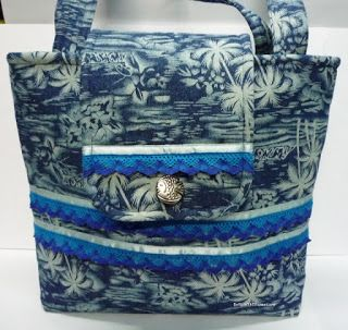 BaRb'n'ShEll Creations-Ribbon and lace trim tropical Denim tote - BaRb