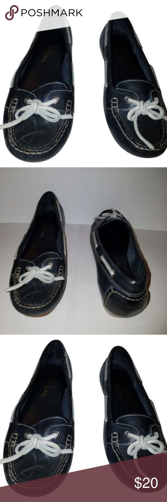 Cole Haan Women Navy Blue Boat Shoes 6M Cole Haan Navy blue boat shoes good clean condition  some minimal wear but very clean size 6 m womens Cole Haan Shoes Flats & Loafers
