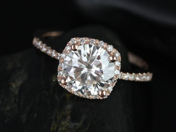 Barra 8mm Rose Gold Round FB Moissanite and Diamonds by RosadosBox, $1950.00