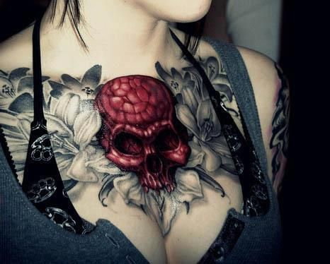 Beautiful skull tattoo with flowers