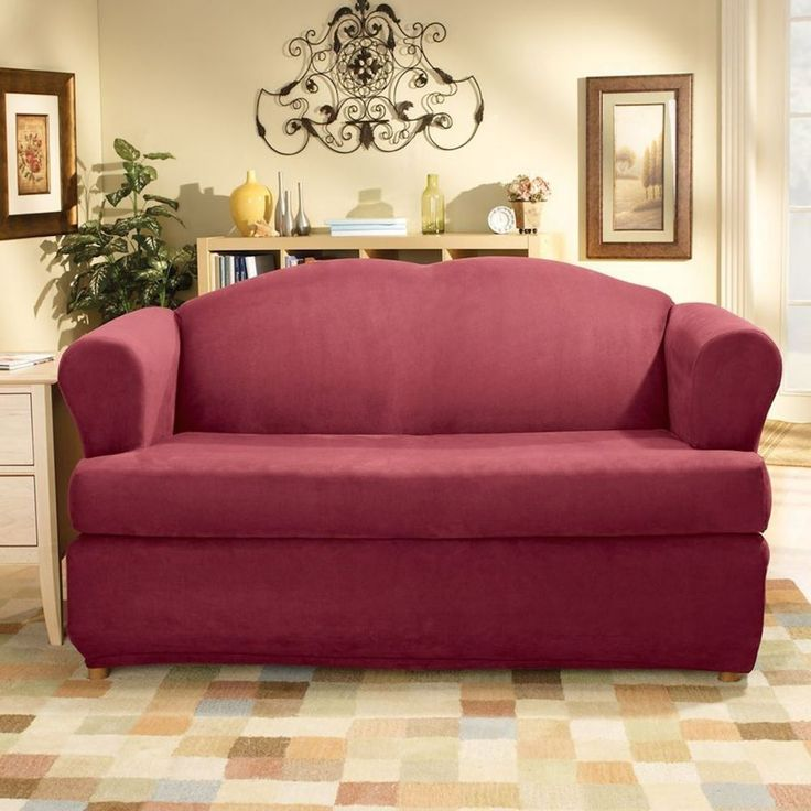 sure fit stretch suede separate seat sofa slipcover for t style sangria
