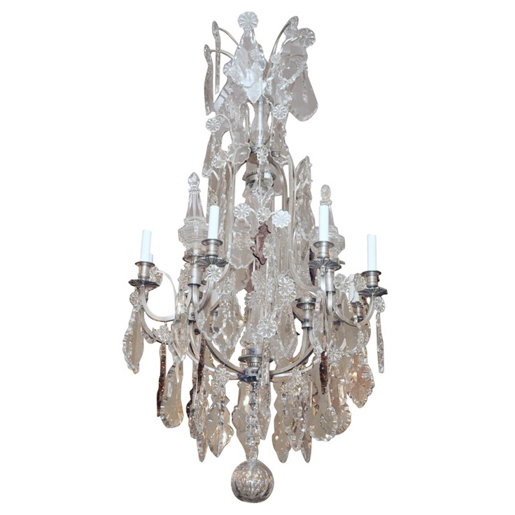 Antique French Baccarat Crystal and Silvered Bronze ChandelierSilver Bronze, French Baccarat, Living Easy, Baccarat Crystals, Antiques French, Pendant Lights, Pendants Lights, Bronze Chandeliers