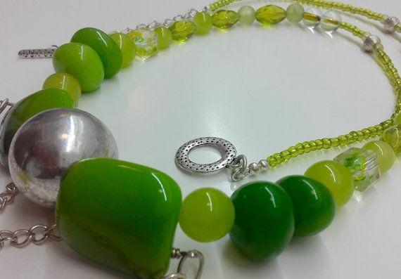 Green bead necklace green statement by JewelleryArtDPDesign