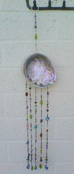 hanging art: shell, glass beads, Swarovski crystals