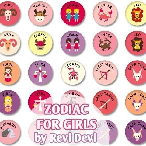 Zodiac For Girls 16242  Printable Circle  Bottlecap by BlessedShop