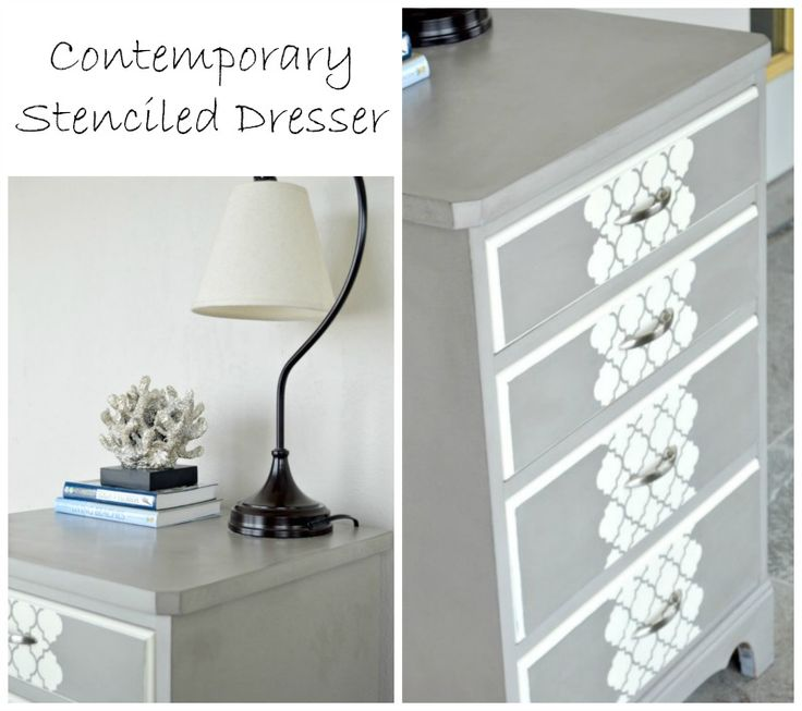 Contemporary Stenciled Dresser And My Big Surprise www.H2OBungalow.com