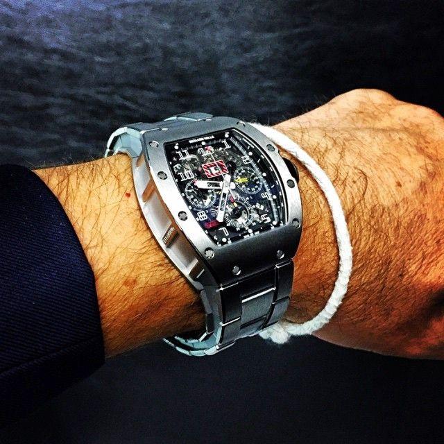 2015 Richard Mille RM011 on titanium bracelet, very comfortable on the wrist.