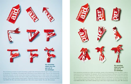 Christian Aid advertisement from Johnson Banks