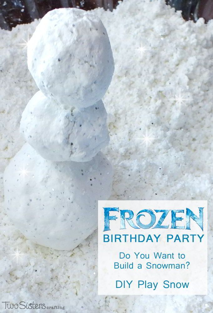 Disney Frozen DIY Play Snow for a Do You Want to Build a Snowman activity at a Frozen Birthday Party.  So easy to make and so much fun - this Frozen Party Idea was the most popular activity at our Frozen Party.