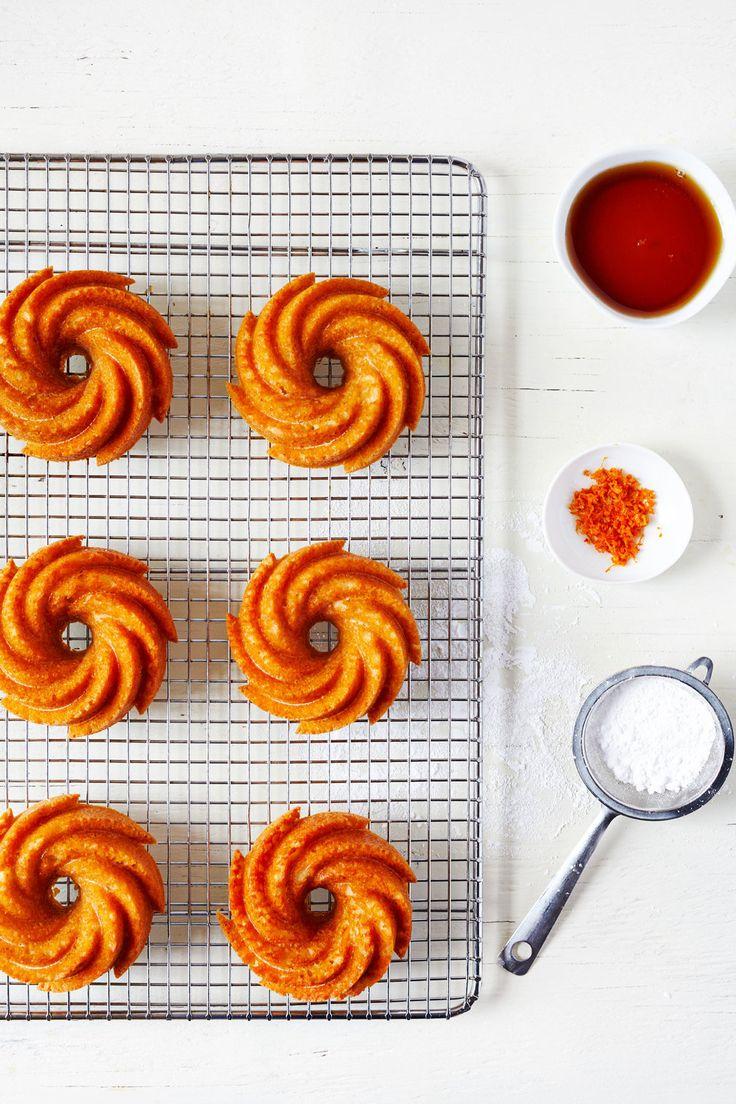 Mini almond bundt cakes with blood orange glaze