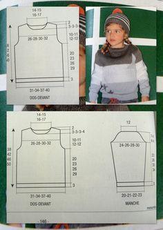 Patron gratuit explications pull enfant ras du cou taille 4 ans à 10 ans