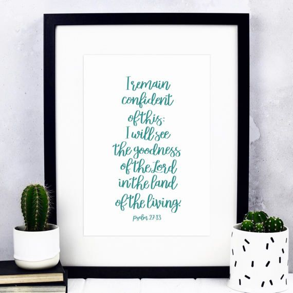 Psalm 27 Print  Hand-lettered Print  Christian Print
