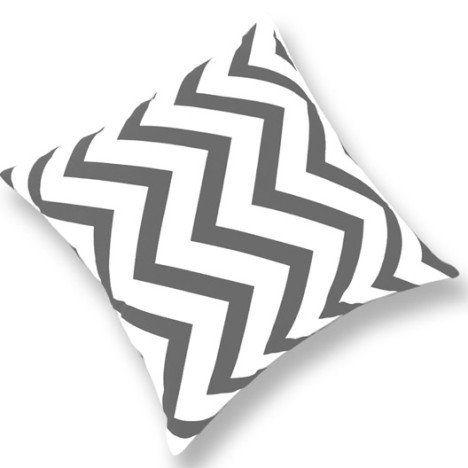 Coussin Wavy, gris et blanc, l.40 x H.40 cm