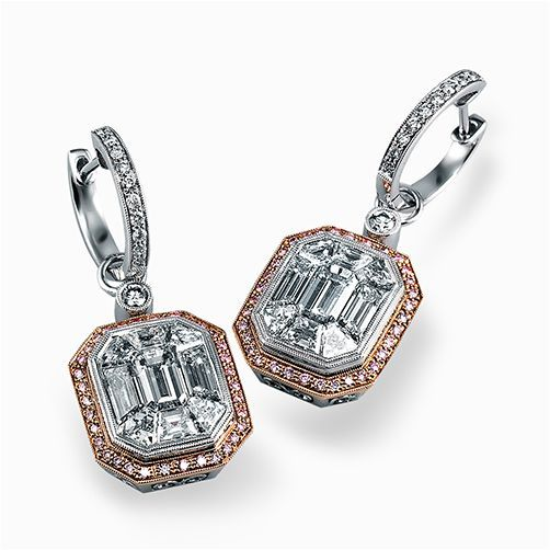 This dramatic white and rose gold contemporary earrings are accented with a 4.0 ctw center mosaic of sparkling white diamonds complimented by .21 ctw round white diamonds and .35 round pink diamonds.