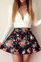 Весна 2015 свободного покроя женщин ну вечеринку платье белый лоскутное сладкий погружаясь шеи цветочные конькобежец мини платье свадебные платья femininos LC21910