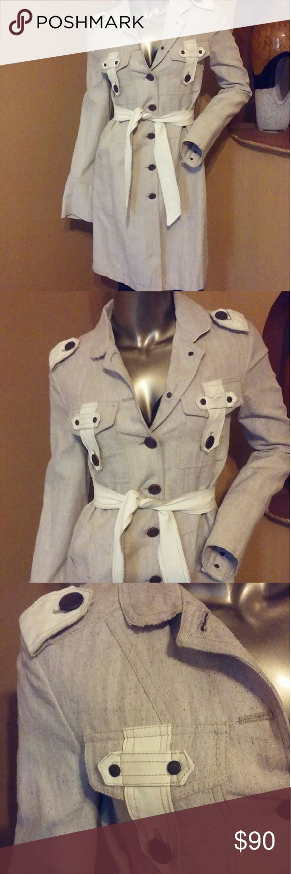 Patrizia Pepe trench coat Patrizia Pepe cream silk and linen belted coat with leather trim. Good condition. Patrizia Pepe Jackets & Coats Trench Coats