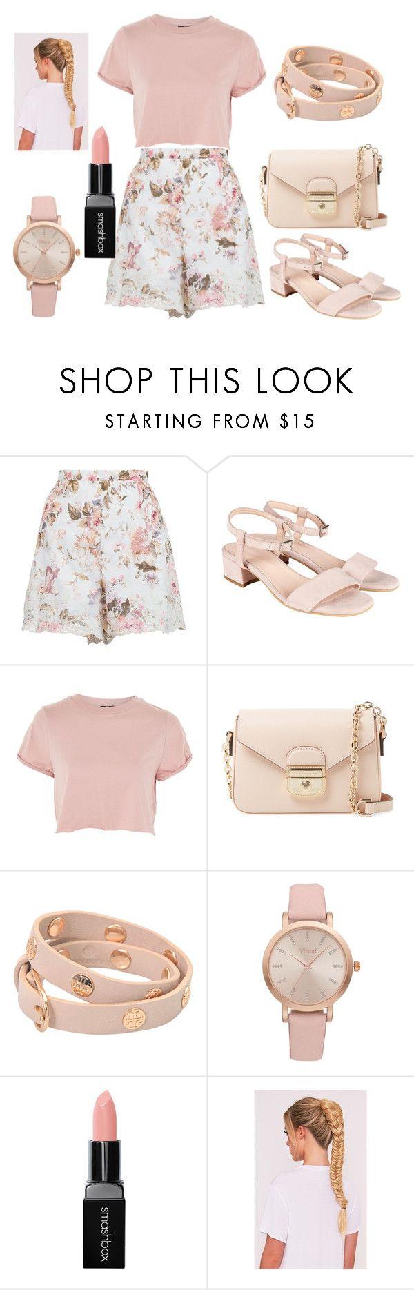 """Flower and Pink"" by zeynepkilic889 on Polyvore featuring moda, Zimmermann, Topshop, Longchamp, Tory Burch, Vivani ve Smashbox"