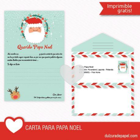 Carta a Papa Noel Imprimible gratis, escribele a papa noel tu carta para navidad #imprimible #papanoel #navidad