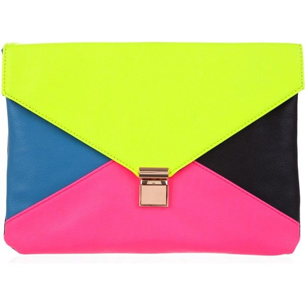 10 Bells Colourful Clutch ($7.02) ❤ liked on Polyvore featuring bags, handbags, clutches, purses, accessories, neon, neon pink handbag, green handbags, green envelope clutch and neon clutches