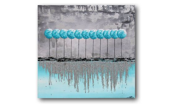 "Metal Wall Art, Silver Metallic Painting, Teal Painting, Turquoise Painting, Textured Painting, Palette Knife ""Icicles"" 28x28"" by SFBFineArt"