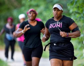 Robin Perry leads a Black Girls Run! workout in Greensboro (photo by H. Scott Hoffmann).