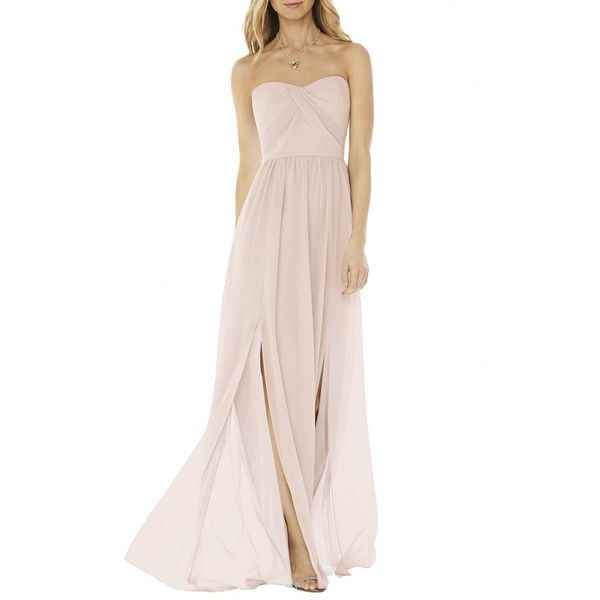 Women's Social Bridesmaids Strapless Georgette Gown ($180) ❤ liked on Polyvore featuring dresses, gowns, blush, sweetheart gowns, strapless dress, pink strapless dress, wrap dress and strapless bridesmaid dresses