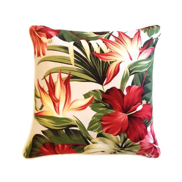 Pua Mauve cushion: tropical print on a mauve background.