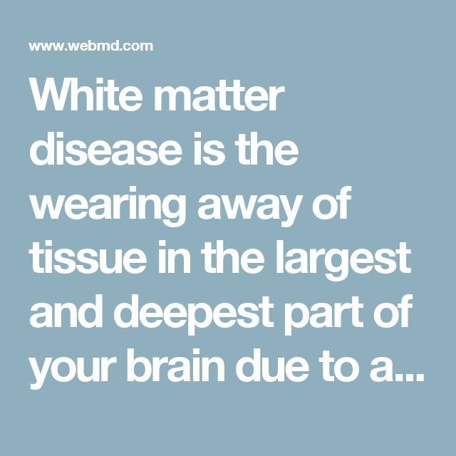 White matter disease is the wearing away of tissue in the largest and deepest part of your brain due to aging. This tissue contains millions of nerve fibers, or axons, that connect other parts of the brain and spinal cord and signal your nerves to talk to one another. A fatty material called myelin protects the fibers and gives white matter its color.