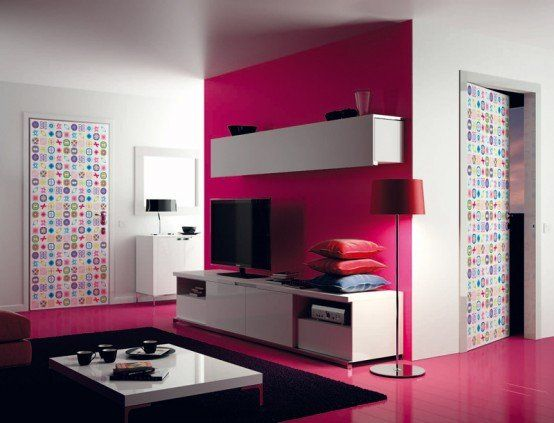Morden graphic design door and pink flooring with pink highlighter wall